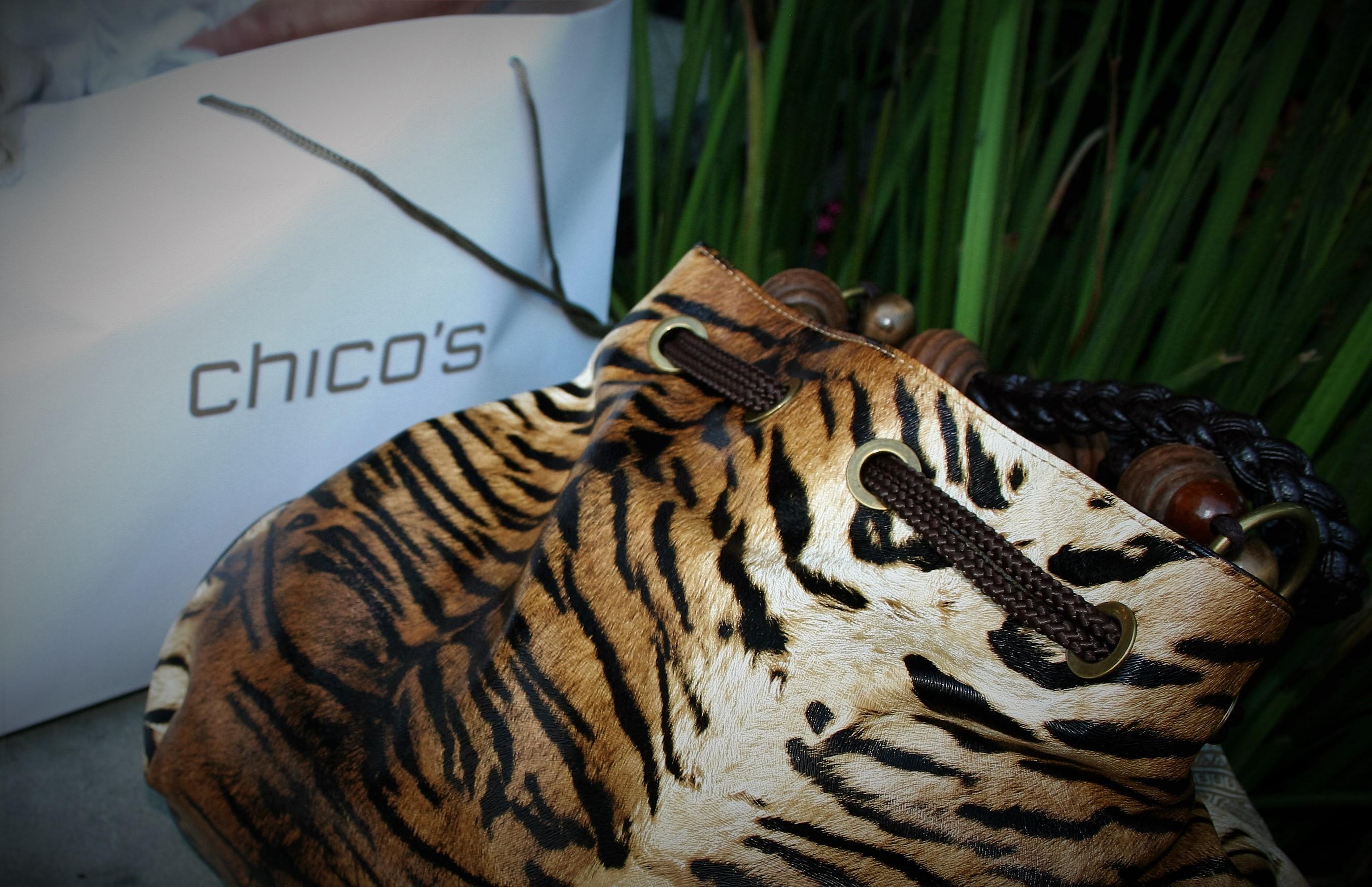 chicos, chicos purse, chicos tiger print purse
