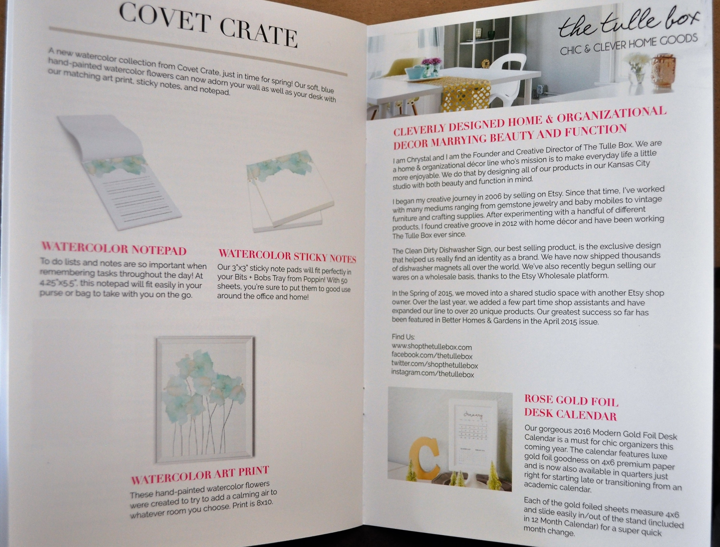 Covet Crate May 2016 Insert Page 9 and 10
