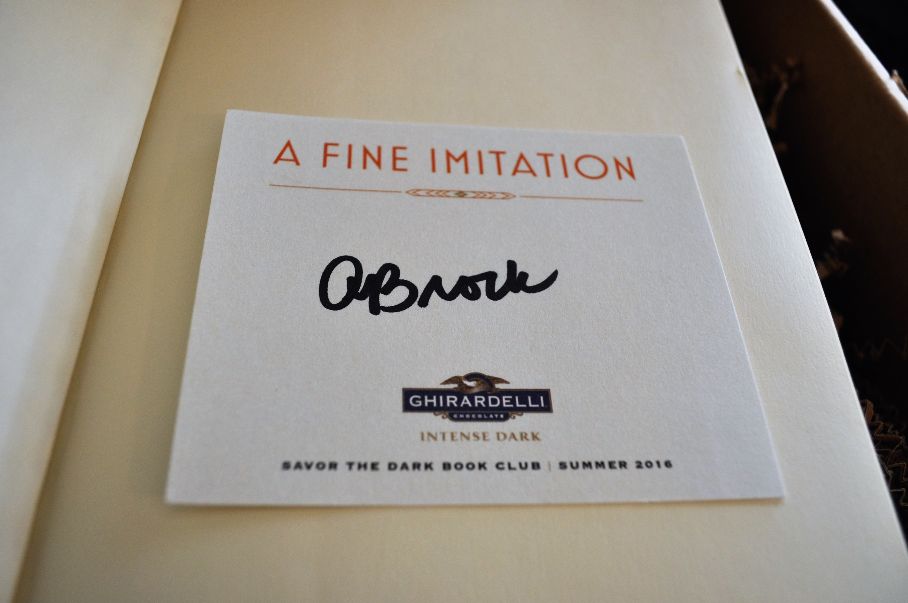 Ghirardelli's Savor the Dark Book Club May 2016 Signed 2