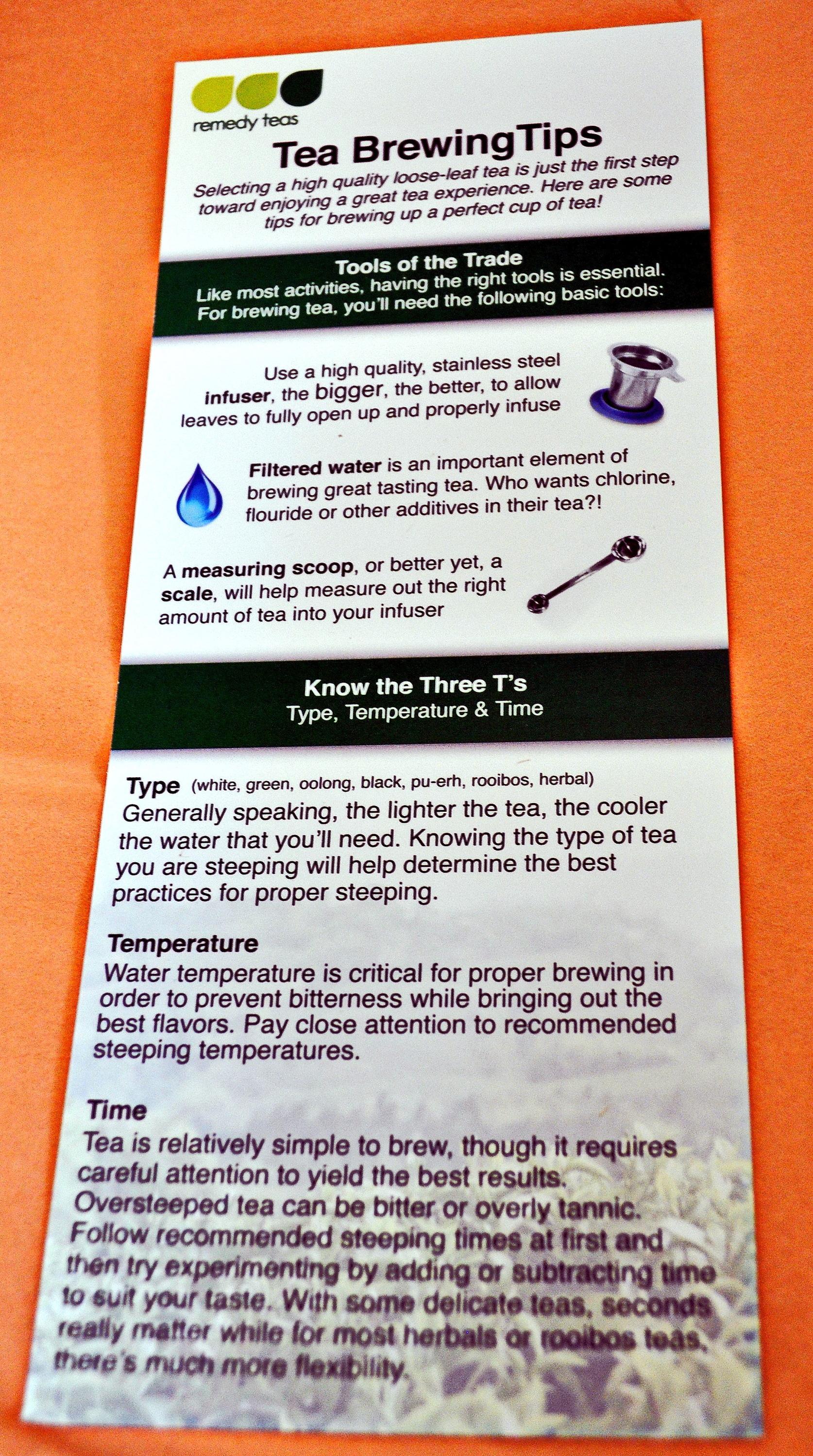 Cozy Reader Club June 2016 Tea Instructions