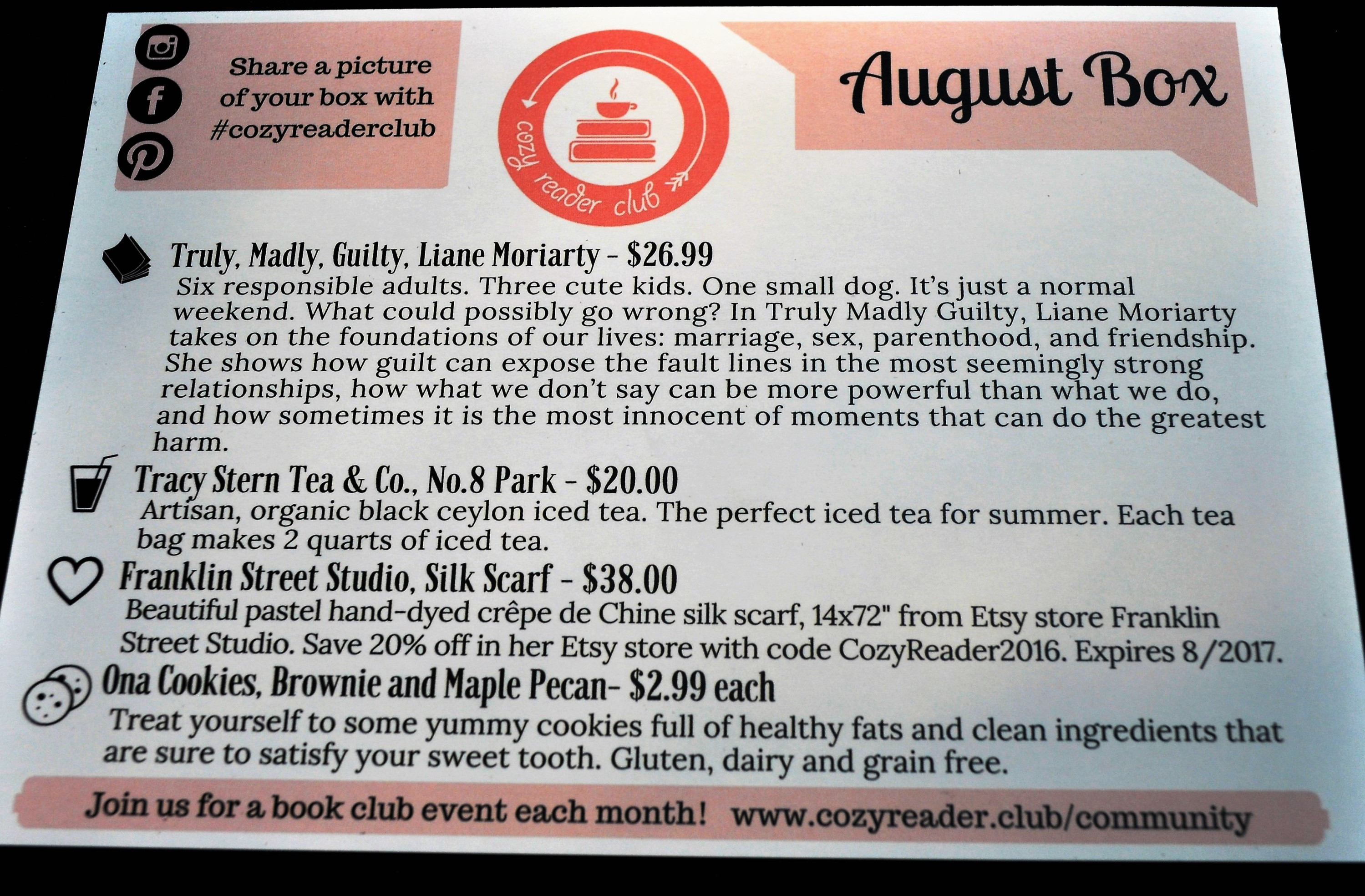 Cozy Reader Club August 2016 Insert Back